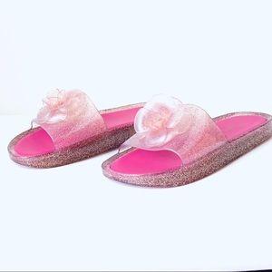 Kate Spade Glitter Flower Jelly Slip On Slippers